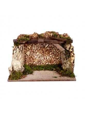 Capanna con muro in sughero alta cm.27