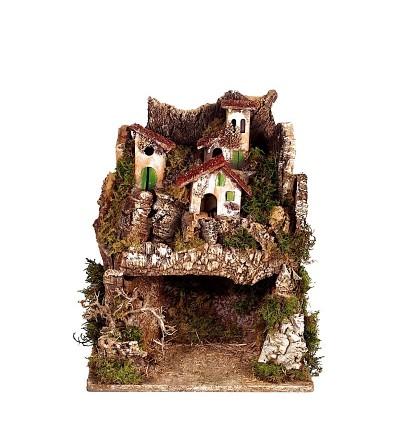 Villaggio con grotta illuminata alto cm.40